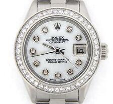 Rolex Datejust Ladies Stainless Steel Watch White MOP Diamond Dial Diamond Bezel