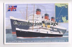 f0420 - Southern Railways Ferry Isle of Sark & Queen Mary - modern art postcard