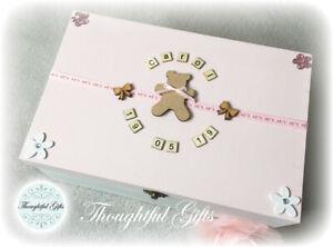 🎀 Girls L/ XL/ XXL Personalised Wooden Memory Keepsake Box Christening Gifts