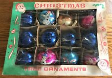 """Box of 12 Vintage 2 1/2"""" Hand Painted Ornaments Made in Poland"""