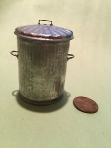 1/12 Scale Vintage Style Galvanized Garbage Can / Germany