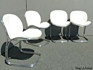 Four Vintage Mid Century Gastone Rinaldi Sabrina Chrome Chairs Made in Italy