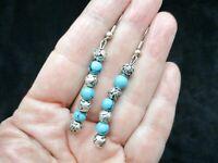 Vintage Southwest Vibe Faux Turquoise Bead & Rosette Bead Earrings Pierced