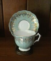 Aynsley Bone China Footed Teacup & Saucer Seafoam Green Gold #2910 England