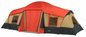 Ozark Trail WMT922.2A 3-Room 10-Person Tent with Shade Awning - Orange-Gold