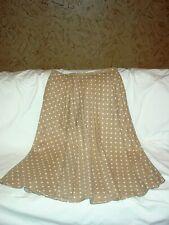 New Womens WHITE STAG Khaki Polka Dot Linen Long Skirt Size 14