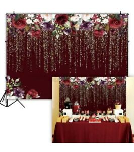 Maroon Glitter Floral Background Wedding Party Prom Photography 5x7ft Backdrop