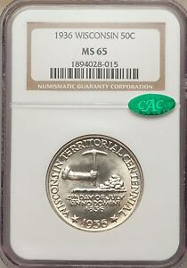 1936 50C Wisconsin MS65 NGC CAC (1126)