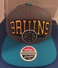 NEW Boston Bruins Zephyr Brand Hat Cap Gray Blue Snapback Adjustable NHL NWT