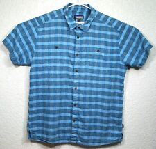Patagonia Mens Blue Hiking Migration Hemp Short Sleeve Button Up XL Shirt EUC