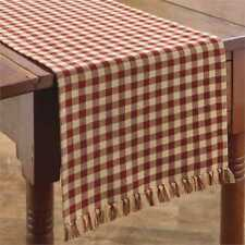 Primitive Country Red & Tan Gingham Table Runner 13X36 Farmhouse Check size 1/2""