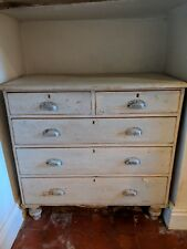 Antique painted distressed pine chest of drawers
