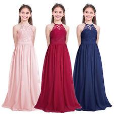 Vestido Largo de Princesa Encaje Floreado Boda Fiesta Bautizo para Niña Infantil