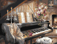 "Painting DIY Acrylic Paint By Number Linen Canvas 16""x20""- Still life Piano"