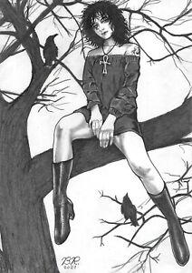 "Death (09""x12"") - original comic art 1/1 by Bete Rodrigues - CosmoTrama"