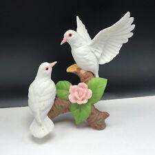 PORCELAIN DOVE FIGURINE capodimonte flower bird statue sculpture hummingbird fly