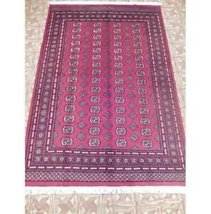 6x9 Authentic Hand Knotted Pakistan  Red Bokhara Rug B-76018