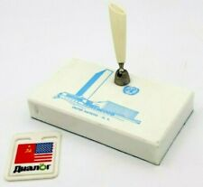 Vintage Desktop United Nations Pen Holder Stand New York Badge USA USSR Dialogue