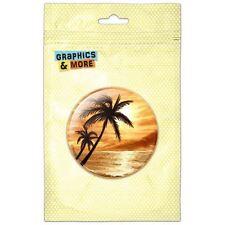 Sunset Beach Palm Tree Hawaii Paradise Pink Pinback Button Pin Badge