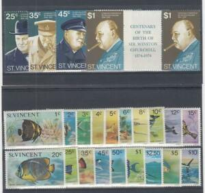 ST. VINCENT (MM268,A) # 389-392,407-425 VF-MNH VARc,$  CHURCHILL /FISH CV $32