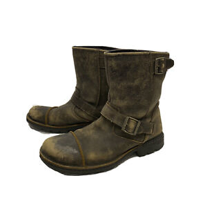 UGG Australia Mens Boots Brown Pull On Distressed Cap Toe Biker Buckle Size 12