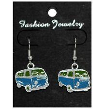 Boucles d'oreilles - camping car bleu turquoise - camper van earrings