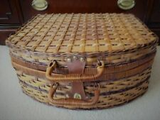 Large Woven Picnic Basket With Four Plates, Glasses & Utensils, New