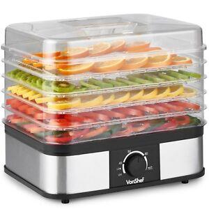 VonShef Food Dehydrator 5 Tray Shelf Dryer Machine Fruit Preserver Beef Jerky