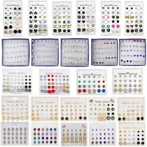 Wholesale 6/12/20 Earrings Set Rhinestone Crystal Pearl Women Ear Stud Jewelry