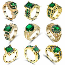 Vintage Princess Cut Green Emerald Wedding Ring 10KT Yellow Gold Filled Size 7