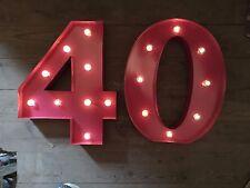 LED CARNIVAL 40 PINK  BIRTHDAY ANNIVERSARY CELEBRATION NUMBERS META LARGE 33 CM.