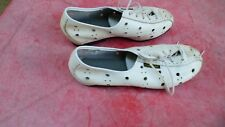 chaussures de vélo vintage Carnac en cuir blanc T 38
