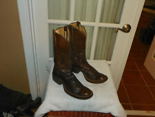 Rios of Mercedes Brown Smooth Calf Skin Crepe Sole Cowboy Boots Men's sz 11.5 A