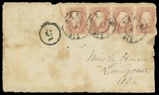 "CSA 2¢ brown red #8 strip of four Mobile Ala cover FRONT Due ""5"", cat $2,000+"