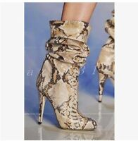 Womens Leopard Leather Pull On Mid Calf Boots Ladies High Heel Nightclub Shoes