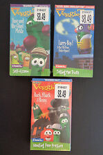 VEGGIE TALES VHS Lot of 3 New SEALED Childrens Christian Values FREE SHIPPING