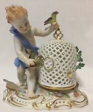 Meissen Porcelain Figurine Boy Playing w Birds Birdcage- Air Element Series