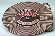 ELVIS PRESLEY RECORD 3D PEWTER BELT BUCKLE USA MADE !