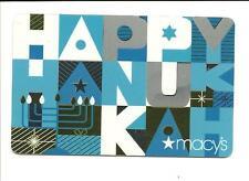 Macy's Happy Hanukkah Gift Card No $ Value Collectible Star Menorah Macys
