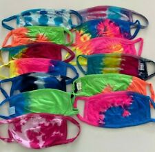 LOT OF 3 SOFT COTTON TIE DYED FACE MASK DOUBLE LAYER WASHABLE UNISEX