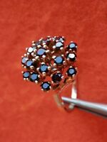 14K Solid Yellow Gold Raised Dome Blood Red Bohemian Garnet Cluster Ring Size 5