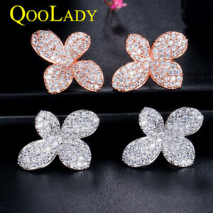 Fashion Simple 585 Gold Paved CZ Crystal Flower Leaf Stud Earring for Women Prom