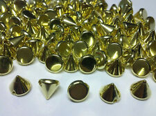 CraftbuddyUS 100pcs Acrylic 8mm Gold Spike Studs sew on  stick on Embellishments