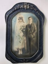 """20x12"""" Antique Wood & Gesso Frame Hand Tinted Photo Bride & Groom Early 1900's"""
