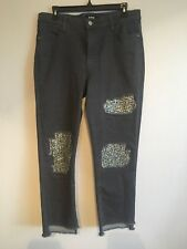 DKNY Womens Sequined Ripped Cropped Skinny Jeans Grey Black Size 30