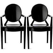 Set of Two (2) Black Louis Style Plastic Armchair Dining Room Chair Lounge Chair