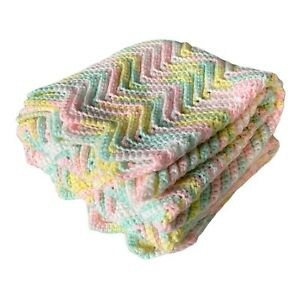 Pastel Chevron Afghan Crochet Baby Blanket Throw Zigzag Ripple Handmade 43 X 50