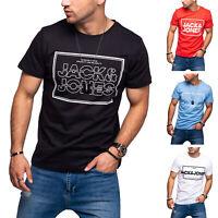 Jack & Jones Herren T-Shirt Logo Print Kurzarmshirt Casual Streetwear Shirt Top