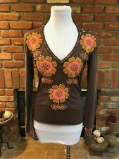 JOYSTICK HAND STITCHED EMBROIDERED BROWN FLOWER WOOD BEADED SHIRT TOP S