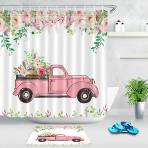 Spring Watercolor Flowers Pink Truck Fabric Shower Curtain Bath Accessory Sets